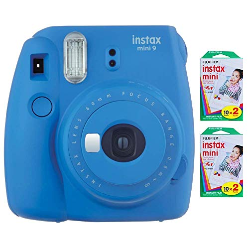 Fujifilm Instax Mini 9 Instant Camera (Cobalt Blue) with 2 x Instant Twin Film Pack (40 Exposures) (Renewed)