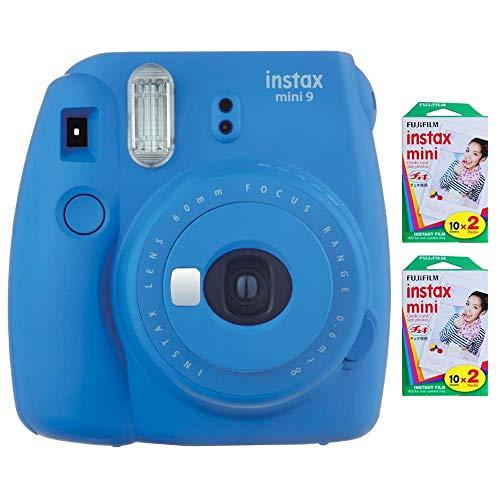 Fujifilm Instax Mini 9 Instant Camera (Cobalt Blue) with 2 x Instant Twin Film Pack (40 Exposures) (Renewed)