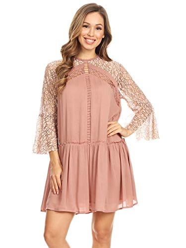 Anna-Kaci Women's Casual Bohe ¾ Bell Sleeve Floral Crochet Lace Oversized Flounce Keyhole Semi Sheer Babydoll Summer A-line Flowy Dress, Dusty Rose, Large