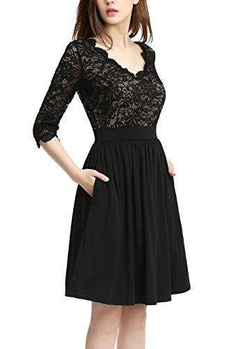 phistic Women's Dress Black Fit Flare Lace amp; nvOdHwvrq8