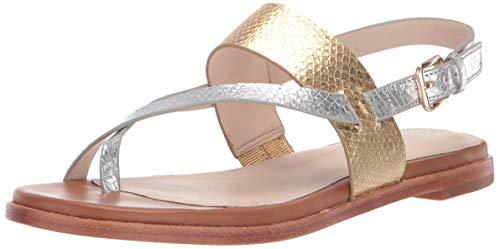 Metallic Strappy Flip Flop Sandal - Cole Haan Women's Anica Thong Sandal Flat, CH Gold/Silver Metallic, 5 B US