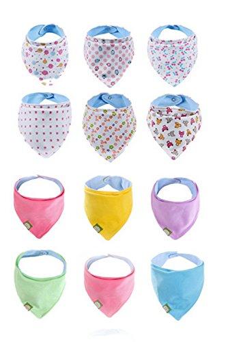 ELE GENS 6/12er Set Baby Kinder Baumwolle Dreieckstuch Halstücher Babylätzchen Lätzchen Ess 2 Seite Mädchen Jungen (12er)