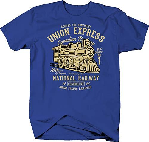 - Janix Canadian & Union Pacific Railway with Train Steam Engine Tshirt Small Royal Blue