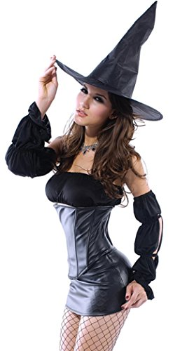 IF FEEL Women Halloween Sexy Charming Angel And Devil Dress Costume Set (M, Black)