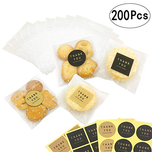 Small Clear Cello Bags Cellophane Cookie Candy Bakery Thank You Treat Party Favors Bags with Decorative Stickers, 200 Bags+ 100 Thank You -