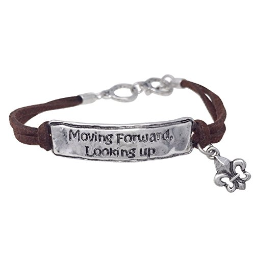 Gypsy Jewels Inspirational Worded Christian Brown Faux Suede Cord Toggle Bracelet - Assorted Sayings (Moving Forward Looking Up)