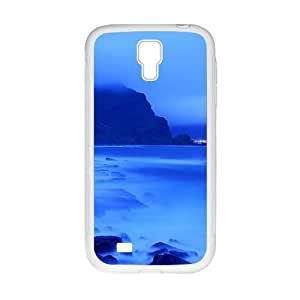 Personalized Clear Phone Case For Samsung Galaxy S4,glam blue sea and skt and misty mountains