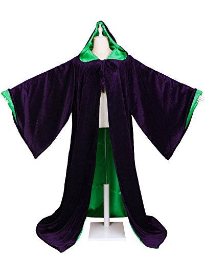Wizard Cape - LuckyMjmy Velvet Wizard Robe with Satin Lined Hood and Sleeves (Purple-Green)