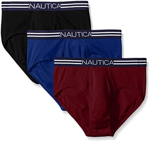 Nautica Men's Comfort Cotton Underwear Fly Front Brief - Multi Pack, Black/Tawny Port/Ocean Lapis, XL ()