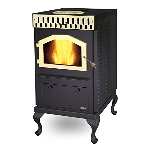 MagnuM Countryside Classic Black with Stylish Gold Finish Accessories Wood Pellet Stove 32,000 BTU Hand-Built in USA by Magnum