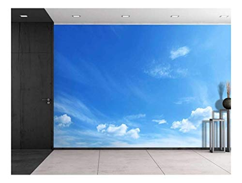 - wall26 - Large Wall Mural - Clouds in Sunny Blue Sky | Self-Adhesive Vinyl Wallpaper/Removable Modern Decorating Wall Art - 100