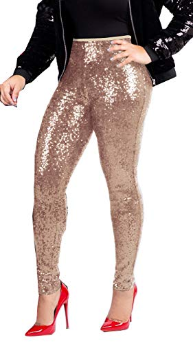 Rose Gold Sequin Leggings - Shiny Tights for Women
