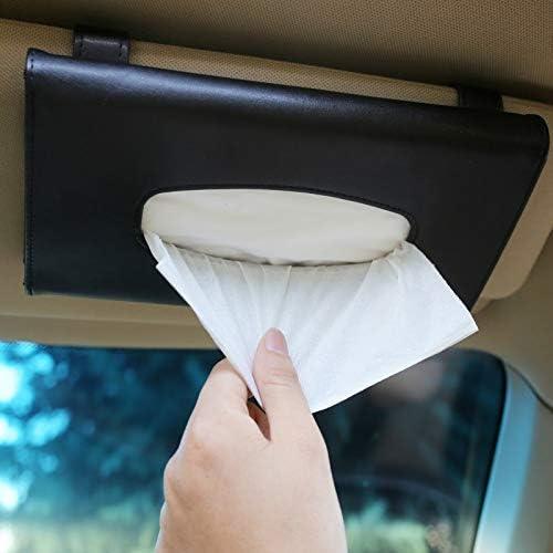 DHTOMC Wallpaper-Masken-PU-Leder Gewebe-Kasten-Auto-Klipp-Halter Papierserviette Zubehör (Farbe Name: Schwarz) Xping