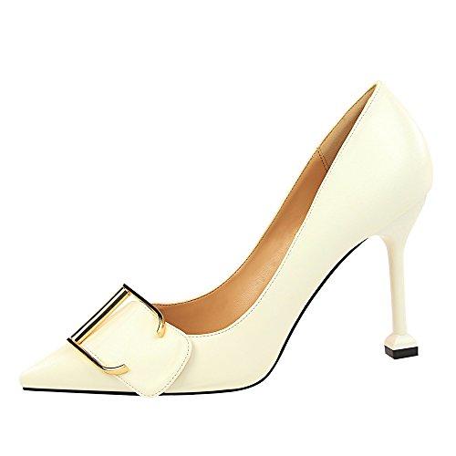 Chaussures À Mode Féminine De Femme Femmes Blanc Talons Élégantes Talons Escarpins Mince Soirée Élégant Ronds Confortables Bouts Pour qIS5xvP