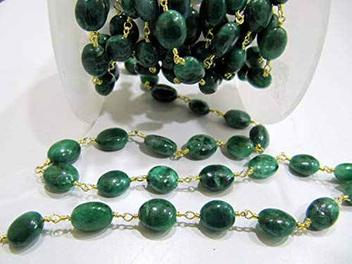 1 Feet A Quality Natural Emerald Rosary Chain, Smooth Oval Beads 9mm to 12mm, Beryl Emerald Beaded Chain in Wholesale Rates by LadoNarayani