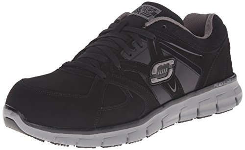 Skechers for Work Men's Synergy Ekron Walking Shoe,Black Charcoal,9.5 M US