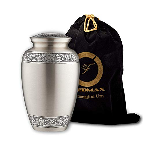 Cremation Urn for Ashes, for Adults up to 200lbs, Funeral Burial Urns w Satin Bag for Human Ashes. Brass, Up to 200lbs