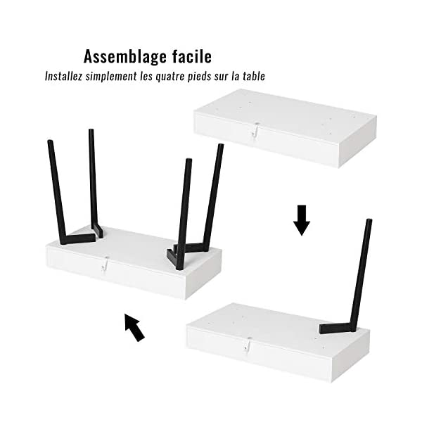 Tiptiper Bureau d'Ordinateur Moderne, Table de Bureau avec 3 Tiroirs, PC Table avec Pieds en Chêne Simple, Blanc et Noir