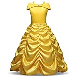 Beauty and The Beast Gown Princess Belle Costume Halloween Party Cosplay Girls Dress
