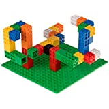 "Strictly Briks Classic Creative Building Creatorz & Baseplate Set Set is 100% Compatible with All Major Brick Brands | 60 Multicolored Creatorz with 6"" x 6"" Classic Green Baseplate 