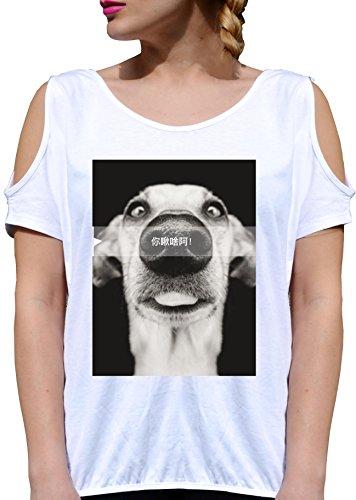 T SHIRT JODE GIRL GGG27 Z1607 DOG PET SMILE FUNNY JAPAN IDEOGRAMS ANIMAL FUN FASHION COOL BIANCA - WHITE M