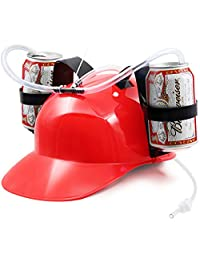 Novelty Place Guzzler Drinking Helmet - Can Holder Drinker Hat Cap with Straw