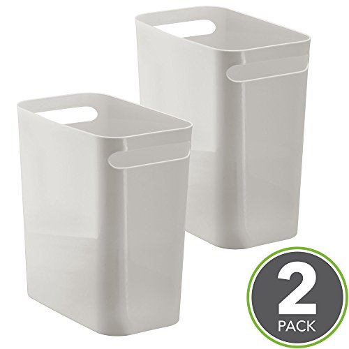 mDesign Slim Rectangular Small Trash Can Wastebasket, Garbage Container Bin with Handles for Bathrooms, Kitchens, Home Offices, Kids Rooms — Pack of 2, 12