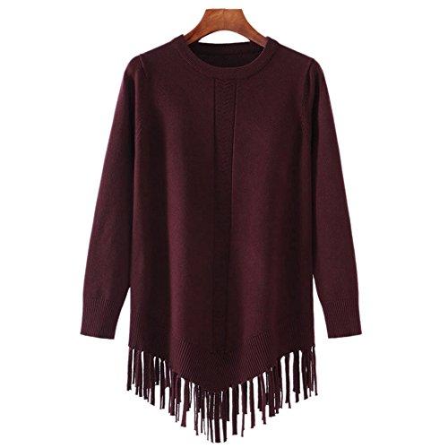 YOUJIA Mujer Plain Jersey de punto Irregular Jerséy Suéter Prendas de punto Blusa Top Con borlas Morado Rojo
