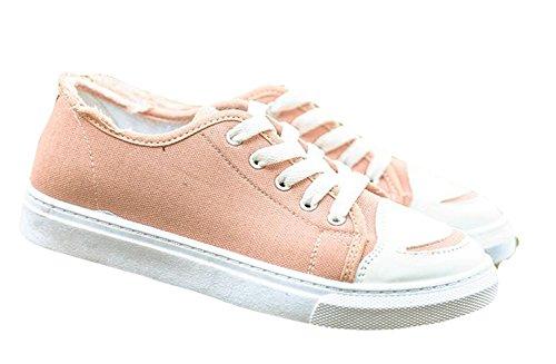 Ein bißchen Damen Studenten zuckerfarbe Sneaker Low Top Schuhe Canvas Textil  Rosa-A ...
