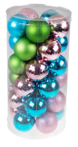 - Clever Creations 30 Piece Textured Shatterproof Christmas Tree Ornaments Green, Blue, Pink Festive Christmas Decor | Christmas Ornaments | 60mm Perfect for Any Size Christmas Tree