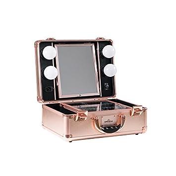 Impressions Vanity Makeup Artist Slaycase Vanity Travel Case In Rose Gold Sparkle Train Case