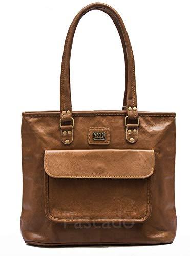 PASCADO Handmade womens brown leather tote with top handle ladies purses zipper bag shoulder handbags vintage