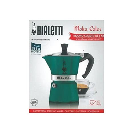Bialetti Moka Color Espresso Coffee Maker (3 Cups, Teal)