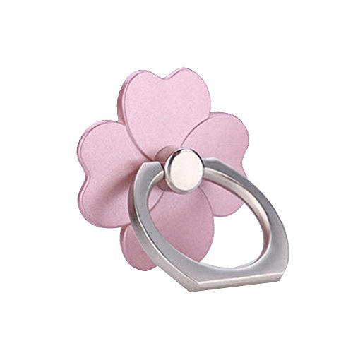 Clover Spinner (Hongfei Four Leaf Clover Cell Phone Finger Ring Holder 360 Rotation Stand for iPhone Samsung Android Mobile Phone and Tablet fit Phone Case Rose Gold)