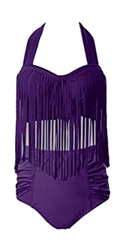 Perfashion de la mujer Plus Size acolchada Bikini borlas Multy Color Tankini para mujer Deep Purple