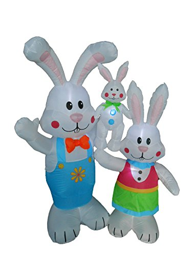 5 Foot Tall Easter Inflatable Party Bunny Bunnies Family – Yard Blow Up Decoration