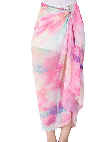 MissShorthair Womens Chiffon Beach Pareos Sarong Sheer Swimsuit Cover Ups Bikini Wrap Skirt