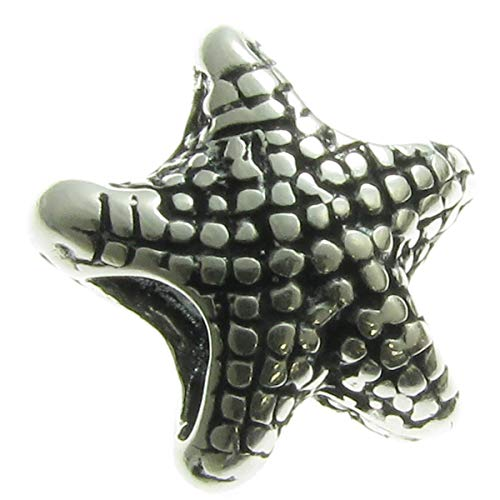 (Sterling Silver Ocean Starfish Focal Bead Charm For European Charm Bracelets)