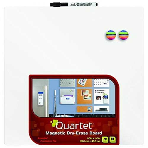 Quartet Magnetic Dry-Erase Board Tile, 14 x 14 Inches, Frameless, White Surface (85402-WT) (Erase Squares Dry)