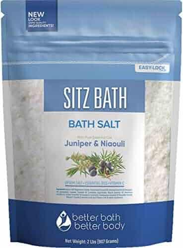 Sitz Bath Soak 32 Ounces Hemorrhoid Soak with Epsom Salt plus Geranium, Frankincense, Lavender, Niaouli Essential Oil and Vitamin C Crystals All Natural Hemorrhoid Relief in BPA Free Pouch