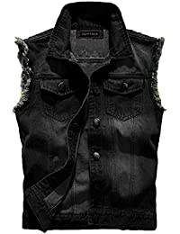 Guytalk Men's Denim Vest Sleeveless Jacket with Removable Hood