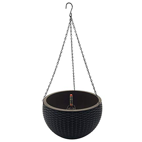 MORINN Self Watering Hanging Planter for Indoor and Outdoor, Wicker Design Plant Basket with Chain and Water Level Indicator Gauge, 10