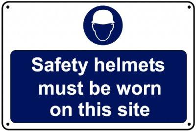 Cascos de seguridad debe llevarse en sitio señal, 600 mm x 400 mm, aluminio
