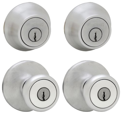 - Kwikset 242 Tylo Entry Knob and Single Cylinder Deadbolt Project Pack in Satin Chrome