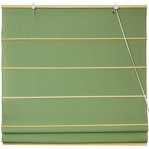 Oriental Shade - Oriental Furniture Cotton Roman Shades - Light Green - (48 in. x 72 in.)
