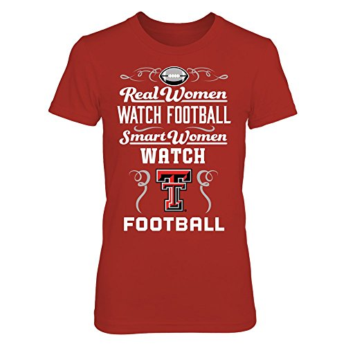 FanPrint Texas Tech Raiders - Real Women Watch Football - Gildan Women's T-Shirt - Officially Licensed Fashion Sports Apparel - Red Raiders Ladies Watch