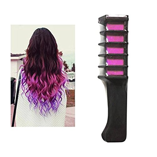 Hair Dye Brush, Elevin(TM) Disposable Temporary Beard Hair Chalk Dye Powder With Comb Salon Hair Mascara Crayons DIY Cosplay Makeup Props Set (Pink) -