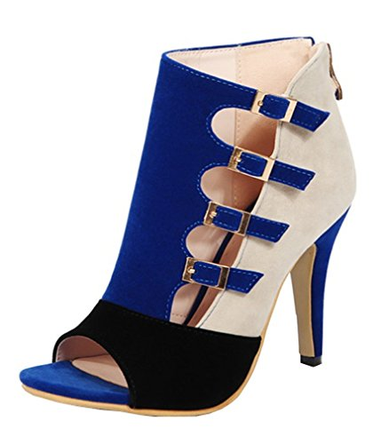 Boots Heel High Toe Shoes YE Buckle Summer Stiletto Women Peep with Blue Ankle Sandals Court aFwSHU