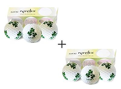 Navika Golf Balls- Shamrock Good Luck White Combo (2 Pack)