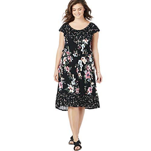 Chelsea Studio Women's Plus Size Off-The-Shoulder Print Midi Dress - Black Full Bloom, M